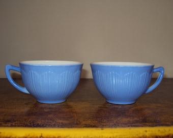 Vintage periwinkle milk glass cups