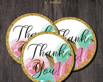 Floral Bridal Shower Printable Thank You Tags / Floral  Bridal Shower Favour Tags / Gold Thank You Tags Printable / Shower Favors
