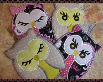 Pot Holders, Owl Hot Pad, Mug Rug, Machine Embroidery Design, Kitchen Decor, Embroidery Machine Pattern, Digital Download, DIY Trivet