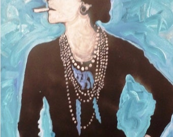 Coco Chanel Art by Matt Pecson Chanel Home Decor Chanel Painting Fashion Wall Art MADE TO ORDER Best Selling Items Bedroom Decor