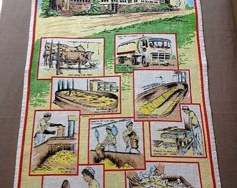 Bodalla Cheese Factory Tea Towel Australian Souvenir Vintage 1980 100% Linen