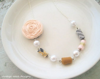 Coral Rosette Statement Necklace,Rosette Necklace,Rosette Jewelry,Coral Rosette Jewelry,Fabric Necklace,Textile Necklace,FabricBead Necklace