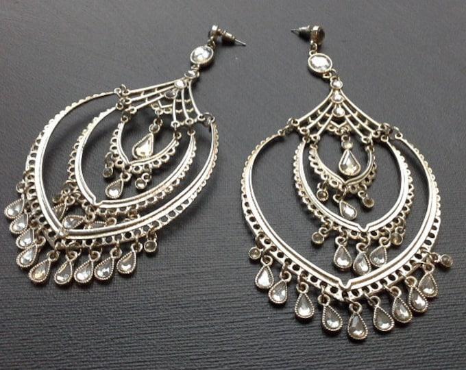 Vintage Ethnic Boho Bollywood Silver Tone & Resin Crystal Rhinestones Huge Dangling Chandelier Earrings