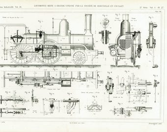 1874 Antique Locomotive Print. Original Engraving. Armengaud. Technical Design Paris Industrial Style Railway Steam  French antiques