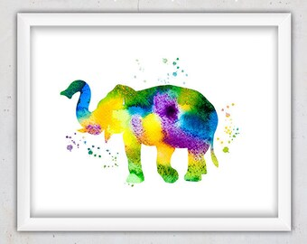 Printable Nursery Art, Elephant Print, Watercolor Print, Instant Download, Watercolor Elephant Nursery  Print, Poster, Kids Animal Print
