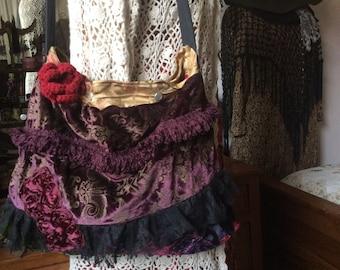 Purple Velvet Bag, plum velvet, red crochet rose, short shoulder strap