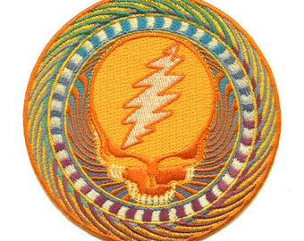 Grateful Dead Patch - Orange Sunshine Steal Your Face 100% embroidered patch/ Stealie/ Psychedelic/ 13 point Lightning Bolt