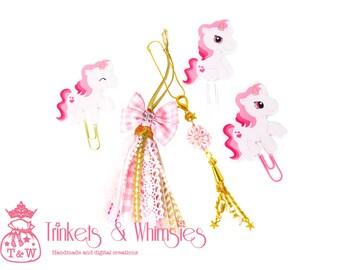Mystical Pink Tassel and Paper Clip Bundle | Planner Dangle | Planner Charm | Planner Page Marker | Planner Accessory | Notebook Tassel
