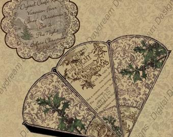 Digital Download Printable Victorian Favor Cone Kit - Christmas Set 2, The Night Before Christmas