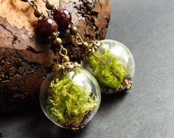 Green moss earring Moss necklace Botanical earrings Terrarium necklace Unique necklace wife Gift from daughter Dried moss jewelry