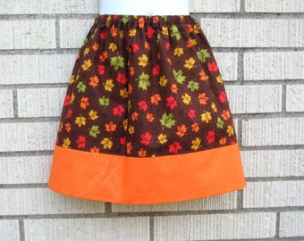 Orange and Brown fall leaves skirt girls skirt, 6M to size 14