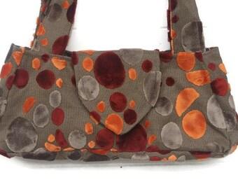 Cut Velvet Handbag Orange Grey Gray Rust