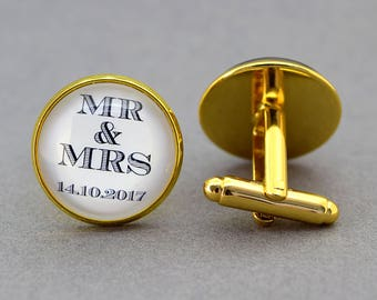 Custom wedding cufflinks. Personalised with wedding date. Unique personal gift. Available in silver and gold plate and antique bronze.