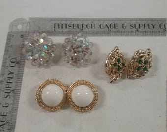 Used lot of 3 pairs of clip on earrings