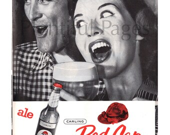 1957 Carling Red Cap Ale Vintage Ad 1950s Couple Advertising Art Retro Beer