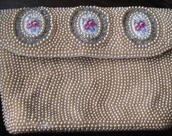 Charlet Bag, Pearls and Porcelain Roses Handbag, Evening Bag, Purse, Japan