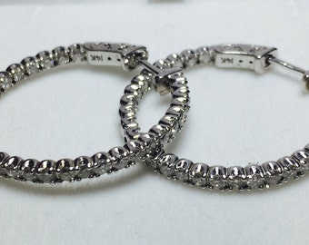 Stunning 1.83CT Diamond Hoop Earrings l 14KT White Gold Diamond Earrings l Diamond Hoops
