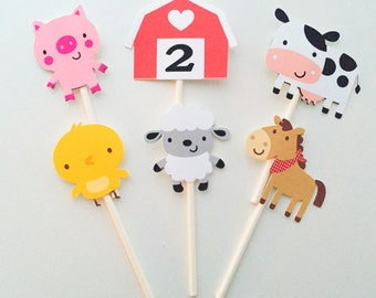 12 Farm Barnyard Cupcake Toppers, Animal Party Toppers, Cupcake Toppers, Animal Party Decor, Farm Birthday, Birthday Party, Old MacDonald