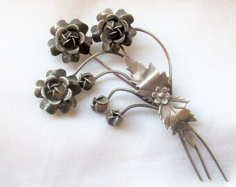 Large Mid Century Vintage  Sterling Silver Trembler Style Floral Pin or Brooch by Aucello Brothers - Free Shipping USA