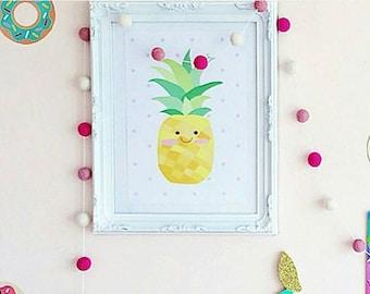 Pineapple Wall Art. Modern Nursery Art. Nursery Wall Art. Girl Wall Art. Pineapple. Pastel Wall Art