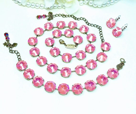 Swarovski Crystal Necklace, Bracelet and Earrings 14mm - UltraPinkCoral A B or Ultra Turquoise AB  - Super Sparkle & Shimmer - FREE SHIPPING