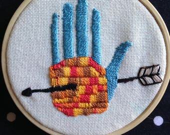 Wall Art, Hand with Arrow, Modern Embroidery, 4 inch finished hand embroidered piece