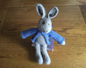 Hand knitted bunny, knitted rabbit, Peter Rabbit