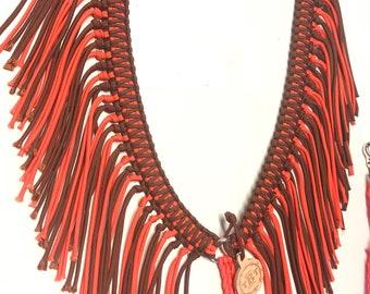 Fringe breast collar,  horse tack,   Orange horse tack, breast collar, paracord tack, neon orange breast collar