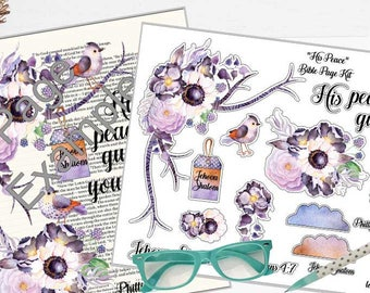 """Printable Bible Journaling Page Kit - """"His Peace"""" - Complete kit for Bible Pages or Journals. Fits all Journaling Bibles."""