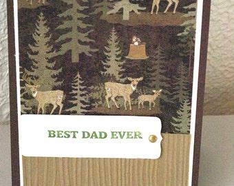 Deer Father's Day Card, deer, buck, handmade, Best Dad Ever greeting card, for  hunter, camper, Outdoorsman Card, Hiker, For Grandfather