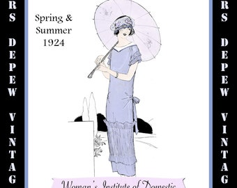 1920sVintage Sewing Book Spring Summer 1924 Fashion Service Magazine Dressmaking Ebook Featuring Hats and Dresses -INSTANT DOWNLOAD-