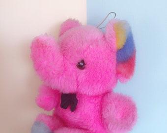 Vintage Retro Rainbow Cute Hanging Elephant Plushie