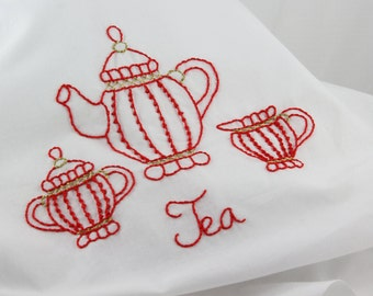 Embroidery Pattern, Hand Embroidery Tea Embroidery Pattern Teapot design tea cup pattern