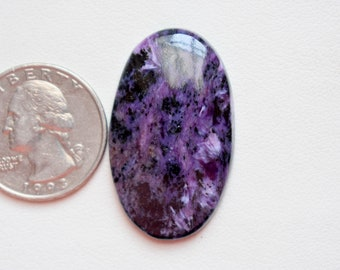 37 x 22 Natural Charoite  cabachon - hand polished - jewelry making natural charoite #GP8907