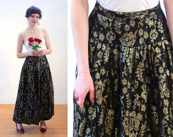 70s Black & Gold Lace Skirt XS, Metallic Floral Vintage Bohemian Highwaisted Gothic Party Holiday Maxi, Extra Small