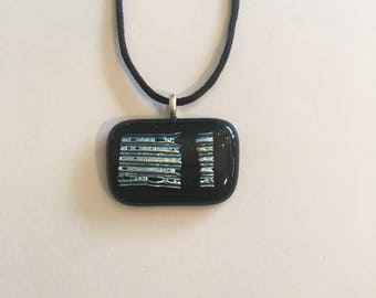 Black and silver dichroic fused glass necklace