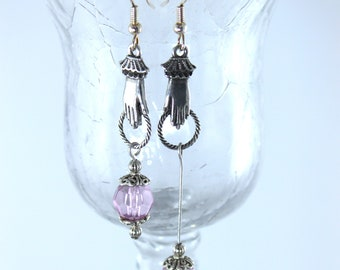 Assymetrical earrings with light purple bead hand jewelry women gift trendy gift for her dangle drop