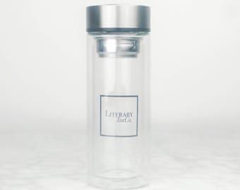 200ml double wall glass tea bottle
