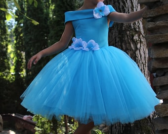 Blue Flower Girl Dress - Birthday Wedding Party Holiday Peasant Bridesmaid Tulle Blue Aquamarine Dress 13-042
