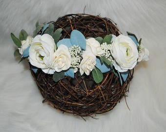 Snow White Ranunculus + Ivory Rose + Blue Eucalyptus: Wedding Collection