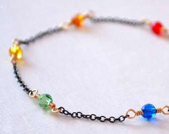 Dainty Rainbow Bracelet, Real Swarovski Crystal, Bright Colorful Fun Jewelry, Black Gunmetal Chain, Wire Wrapped Gold, Mixed Metal