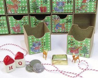 Woodland Christmas Advent Calendar, Countdown To Christmas, Kid's Advent Activity, Reusable Advent Calendar, Mini Boxes, Woodland Decor