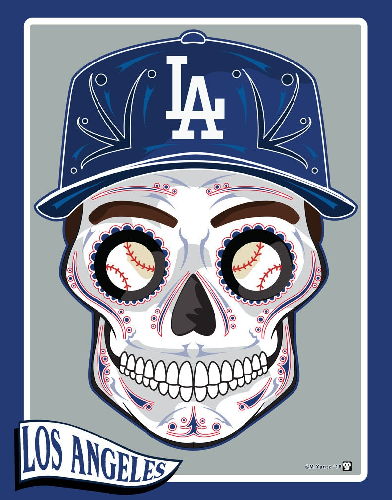 Los angeles dodgers sugar skull 11x14 print for The order tattoo los angeles