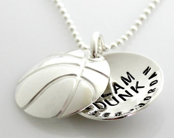 Basketball Mom Personalized Locket - Slam Dunk - hand stamped and personalized sterling silver faux locket