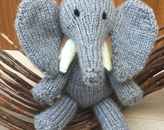 Hand knitted Baby Elephant- Mini Plush stuffed toy- Handmade toy- Soft novelty toy-Nursery/Birthday gift - Tilly the Elephant - CUSTOM MADE