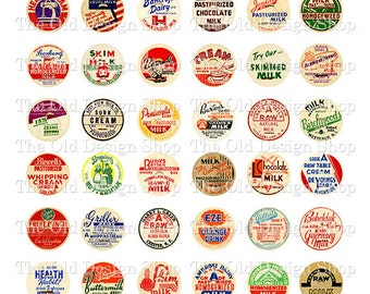 Vintage Milk Bottle Caps 1 Inch Circles Printable Digital Collage Sheet