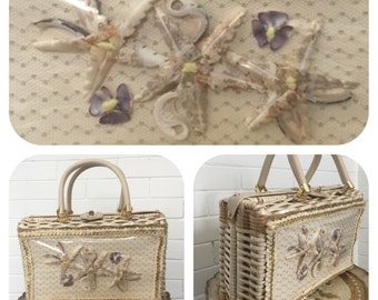 Vintage 1950s Basket Purse with Seashells Princess Charming by Ailas