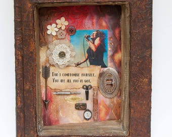 Assemblage Art Book - Mixed Media - Found Object Art - Janis Joplin - Home Decor