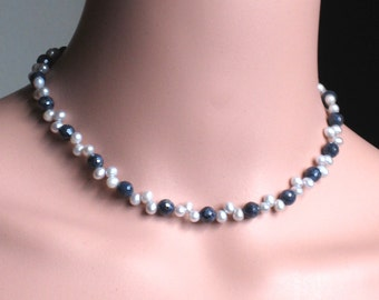 Blue Sapphire Pearl Necklace - Blue Sapphire Gemstone and Pearl Sterling Silver necklace - September birthstone