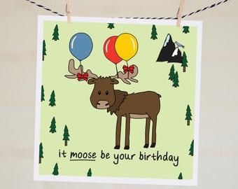 Best Friend Birthday Card | Moose Funny Birthday Card Boyfriend Happy Birthday Card Handmade | Birthday Gift It Moose Be Your Birthday Cards